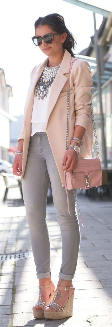 Blazer Wedges 3 look blush blazer statement necklace studded wedge sandals and grey skinnies