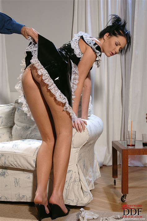 Belicia Naughty Maid In Latex Dress Gets Her Ass Spanked Pichunter