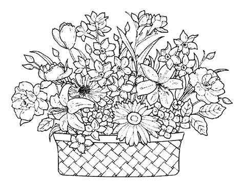 download a basket full of beautiful flowers coloring pages
