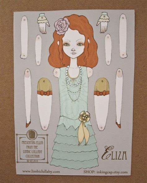 little eliza jointed movable paper doll by inkingcap on