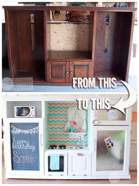 Turn Entertainment Center Into Play Kitchen by Remodelaholic Repurposed Owl Plant Stand Turned Side Table