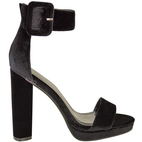 Ankle Platform Sandals womens block high heel sandals velvet ankle strappy