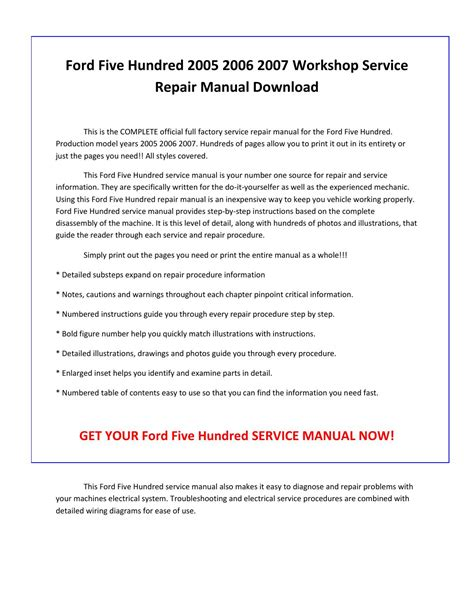 car repair manuals download 2005 ford five hundred seat position control ford five hundred 2005 2006 2007 service repair manual pdf download by sparchita3 issuu