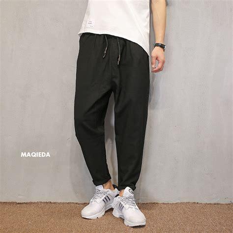 Celana Pendek Casual Musim Panas Panjang Selutut Dengan Lubang buy grosir celana linen from china celana linen penjual aliexpress alibaba