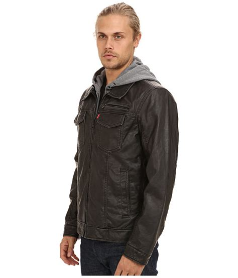 Jaket Levis Hoodie levi s 174 faux leather two pocket hoodie trucker jacket at