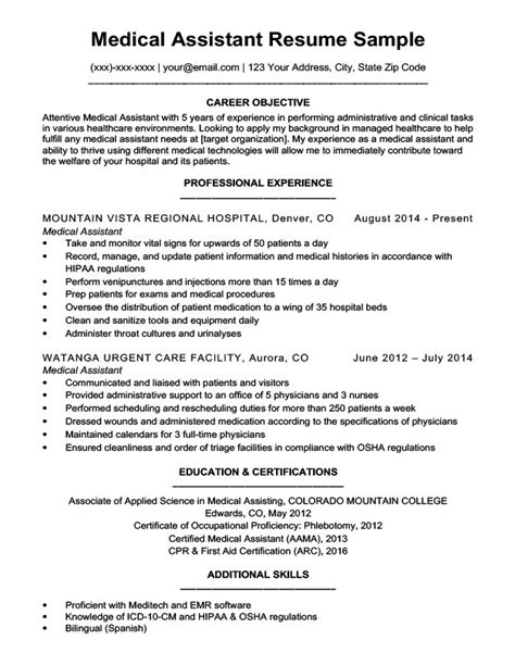 medical assistant resume objective medical sample resume objective