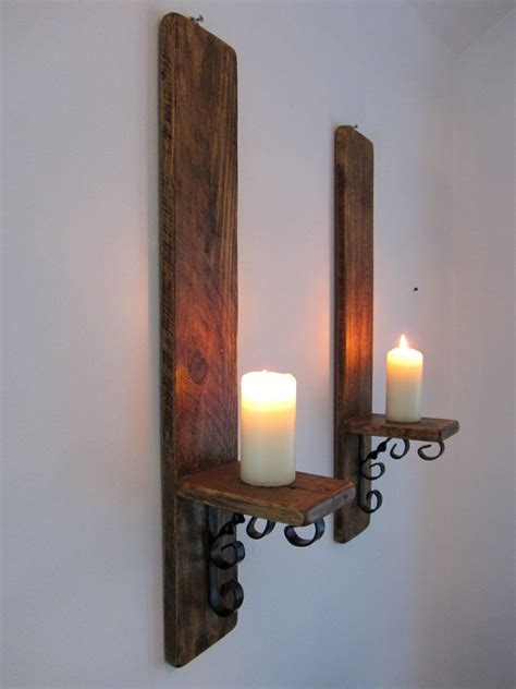 Wood Wall Sconce Pair Of Large 60cm Reclaimed Wood Wrought Iron Candle
