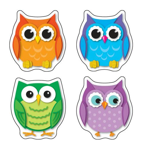 owl theme colorful owls stickers cd 168078