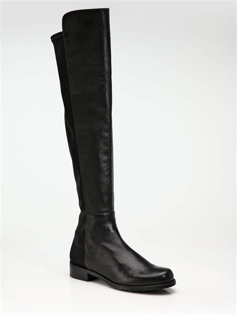 stuart weitzman nappa leather flat the knee boots in