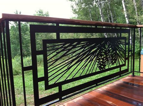Patio Railing Designs Modern Pinecone Railing For Outdoor Deck Patio Or Tub Area Powder Coated Steel Designed