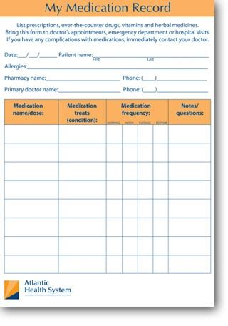 patient medication card template my medication record printable medication record