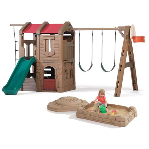 step 2 swing and slide combo adventure lodge play center and sandbox combo outdoor
