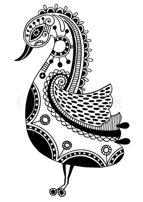ink pattern black and white ink drawing of tribal ornamental bird ethnic pattern
