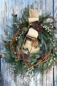 winter lotus winter wreath mixed pine lotus pods burlap bow burlap