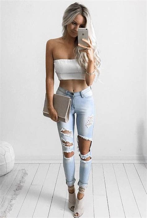 white cropped top ripped jeans fashion trends casual