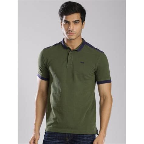 Polo Shirt Levis Solid buy levis olive green cotton solid polo t shirt