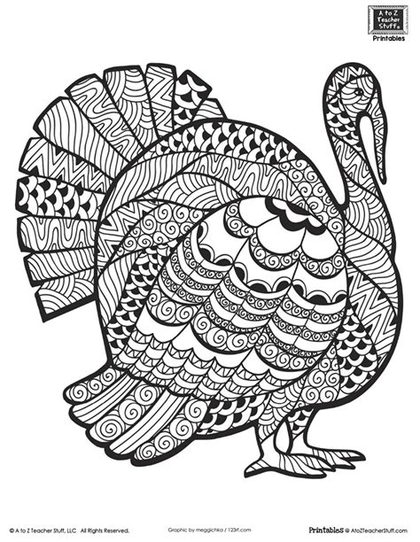 Thanksgiving Coloring Pages Advanced | detailed turkey advanced coloring page a to z teacher
