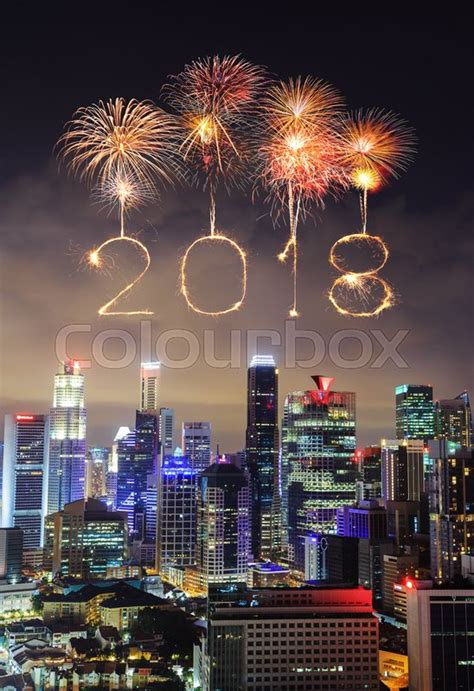 new year 2018 singapore 2018 happy new year firework sparkle with cityscape view