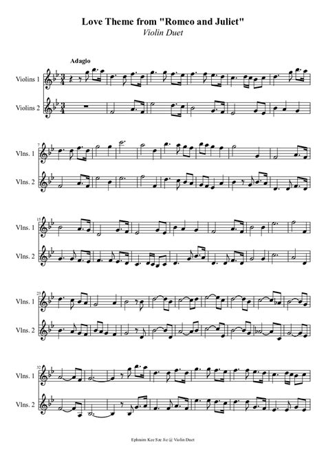 love theme from romeo and juliet notes love theme from quot romeo and juliet quot violin duet sheet