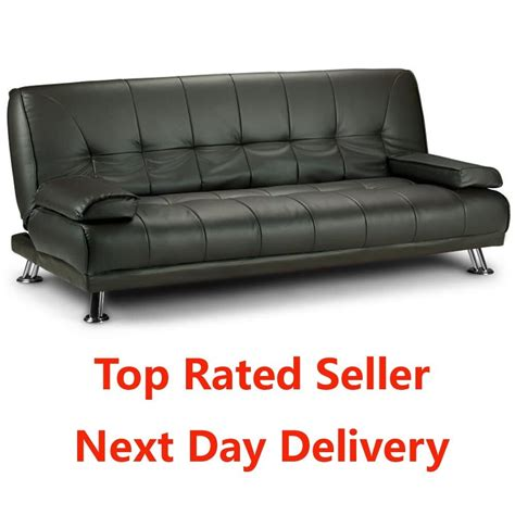 large italian style faux leather sofa bed  chrome feet futon  ebay