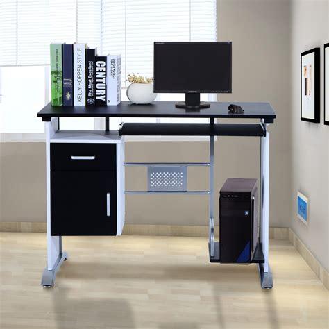 bureau ordinateur noir bureau ordinateur 100 l x 52 i x 45h cm noir et argent