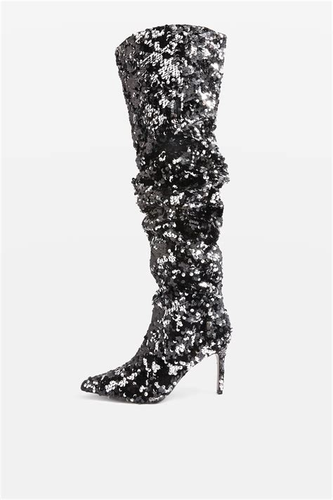 bejeweled knee high sequin boots topshop usa