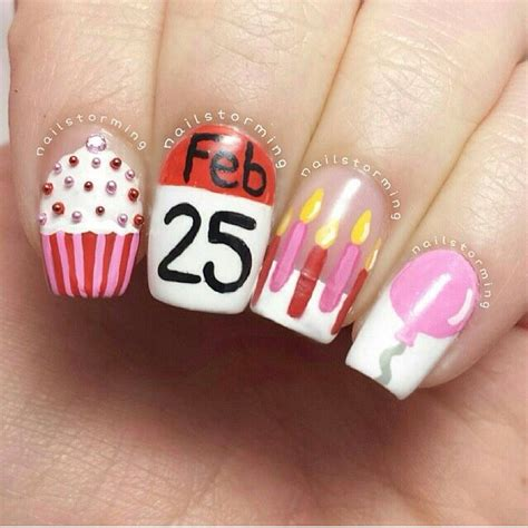 17 best images about nails birthday on birthday nail birthdays and coral cupcakes birthday nail design nail inspirations birthday nail birthdays and