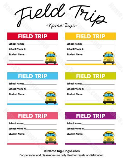 Field Trip Template Printable Field Trip Name Tags