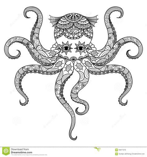 El Diseño Del Zentangle Del Pulpo Del Dibujo Para El Libro