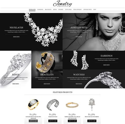 15 Most Favorited Templates Themes For Online Jewelry Accessories Stores 2018 Ecommerce Jewelry Store Website Template