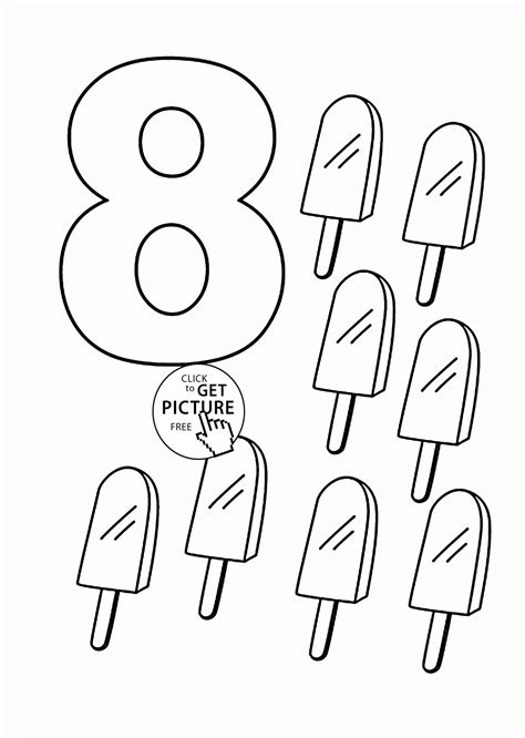 Number 8 Coloring Page by Number 8 Coloring Pages For Counting Sheets