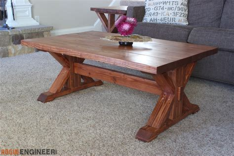 trestle bench plans trestle coffee table free diy plans rogue engineer