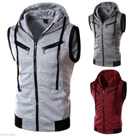 Jacket Jaket Sweater Hoodie Zipper Pria Hitam List Putih s zip up sleeveless hoodie hooded jacket coat sweatshirt sweater hoody top ebay