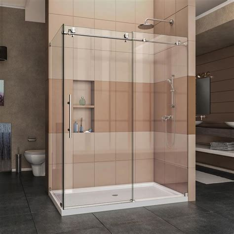 Dreamline Frameless Sliding Shower Door Shop Dreamline Enigma X 56 375 In To 60 375 In W X 76 In H Frameless Sliding Shower Door At