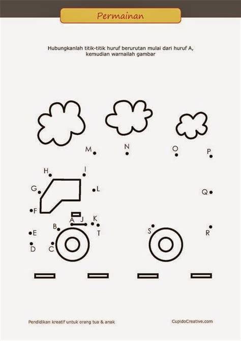 belajar membaca a z untuk anak permainan paud balita tk menghubungkan titik gambar truk
