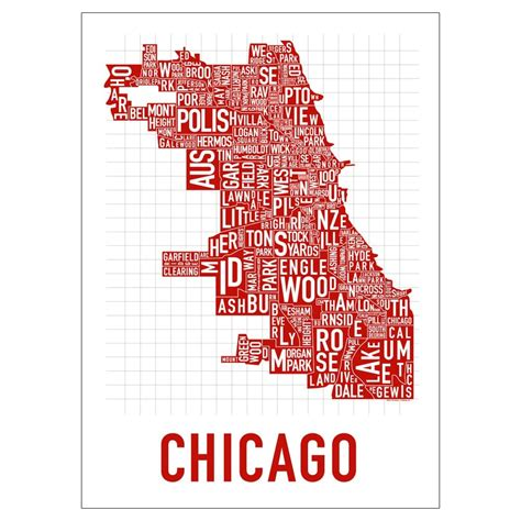 chicago map silhouette chicago neighborhood poster spicy