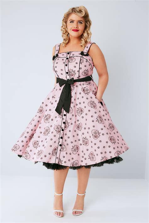 Dress Bunny Pink hell bunny pink black keepsake printed dress plus