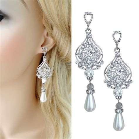Chandelier Pearl Drop Bridal Earrings Dangling Wedding