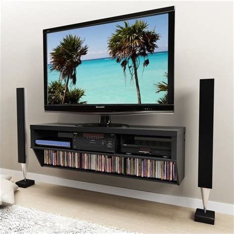 luxury wall mounted modern tv cabinets in black with glass prepac series 9 designer 58 quot wide wall mounted av console