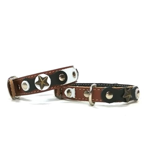 collar and bracelet cool and original brown cat collar and bracelet with black and white leather parts and