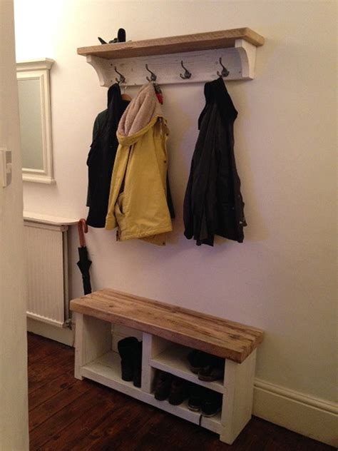 cottage style reclaimed wood coat and shoe rack combo farmhouse entry cheshire by