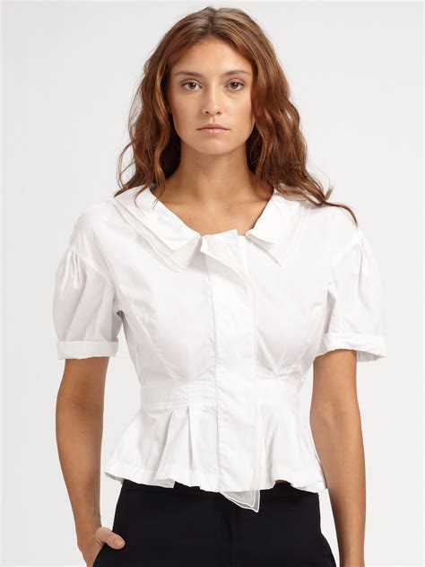 White Peplum Blouse ricci cotton peplum blouse in white lyst