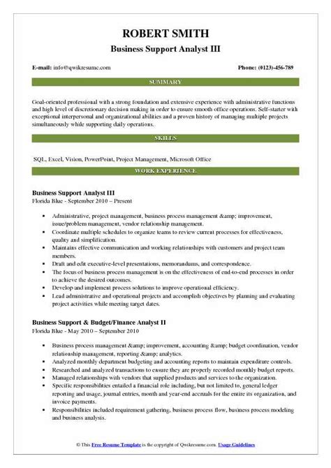 Business Support Analyst by Business Support Analyst Resume Sles Qwikresume