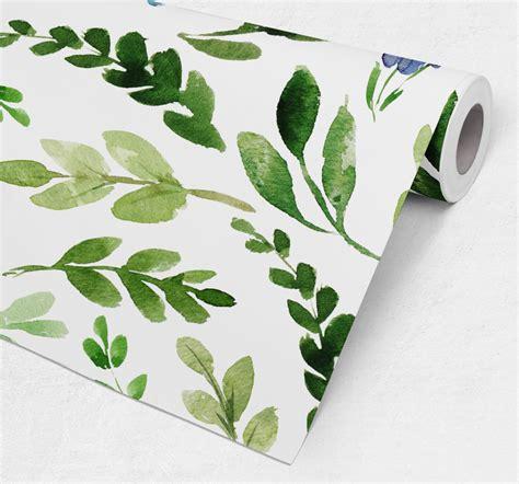 repositionable wallpaper watercolor green leaves repositionable wallpaper