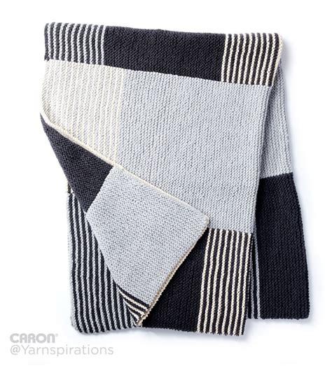 knitting pattern essentials caron essential stripes knit blanket knit pattern