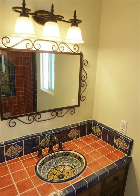 Mexican Bathroom Vanity Bathroom Vanity Using Mexican Tiles For The Home Pinterest