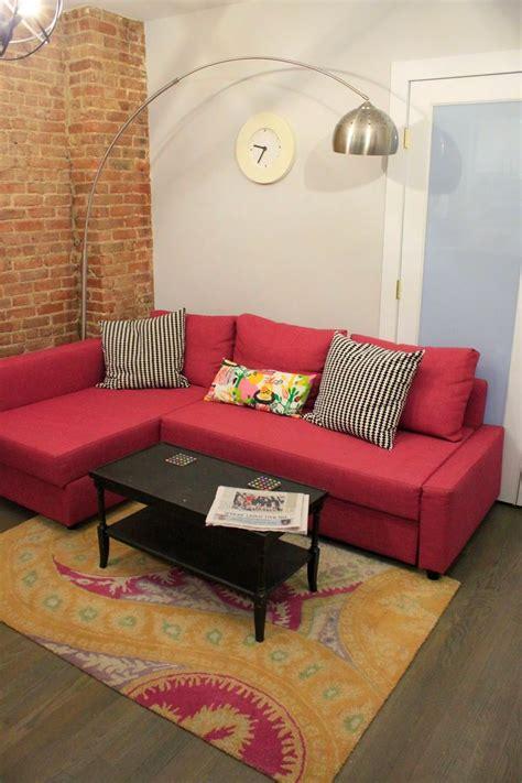 ikea living room sofa bed home sweet apartment with ikea friheten sofa in deep pink