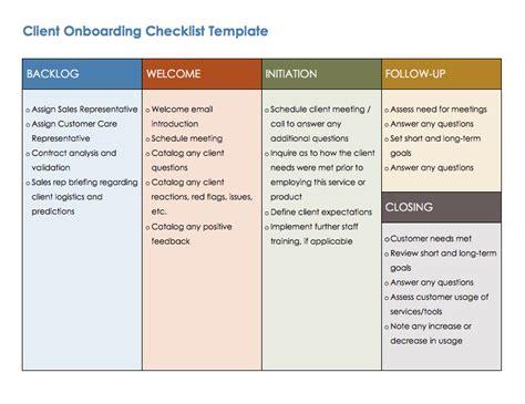 Free Onboarding Checklists And Templates Smartsheet Client Onboarding Templates