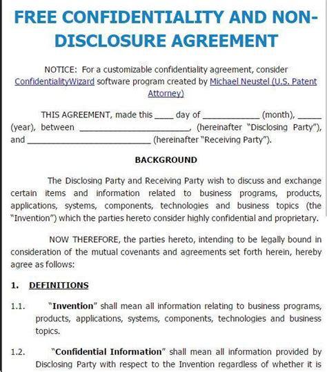 patent non disclosure agreement template invention disclosure form template photos resume