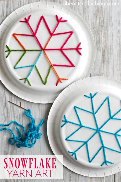 Paper Winter Crafts - paper plate snowflake yarn i crafty things